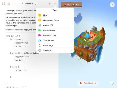 """Missa inte menyn """"Tools"""" där du bland annat kan göra skärminspelning och sända live från appen."""