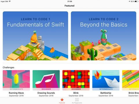Just nu innehåller Swift Playgrounds två utbildningsblock med ca 50 övningar vardera. Dessutom finns fem stycken öppna utmaningar (challenges). Enligt Apple så kommer appen att fyllas på med mer material efterhand.