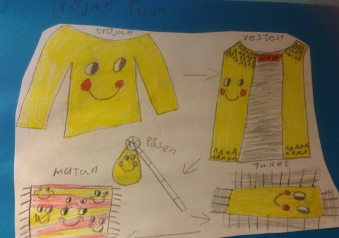 Teckning skapad av elever i klass 2 på Kronan i Trollhättan.